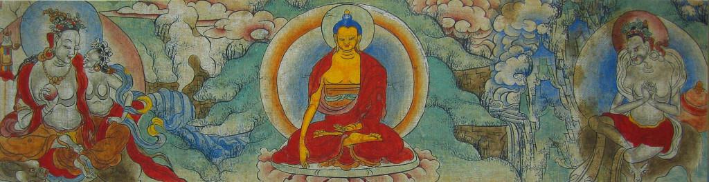 Будда Шакьямуни, Шива и Парвати (слева), Кармасиддхи Утпала (справа) основатели астрологии Янчер, известной как Шива свародая